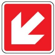 Fire Safety Sign - Fire Arrow 45 Left Down 010